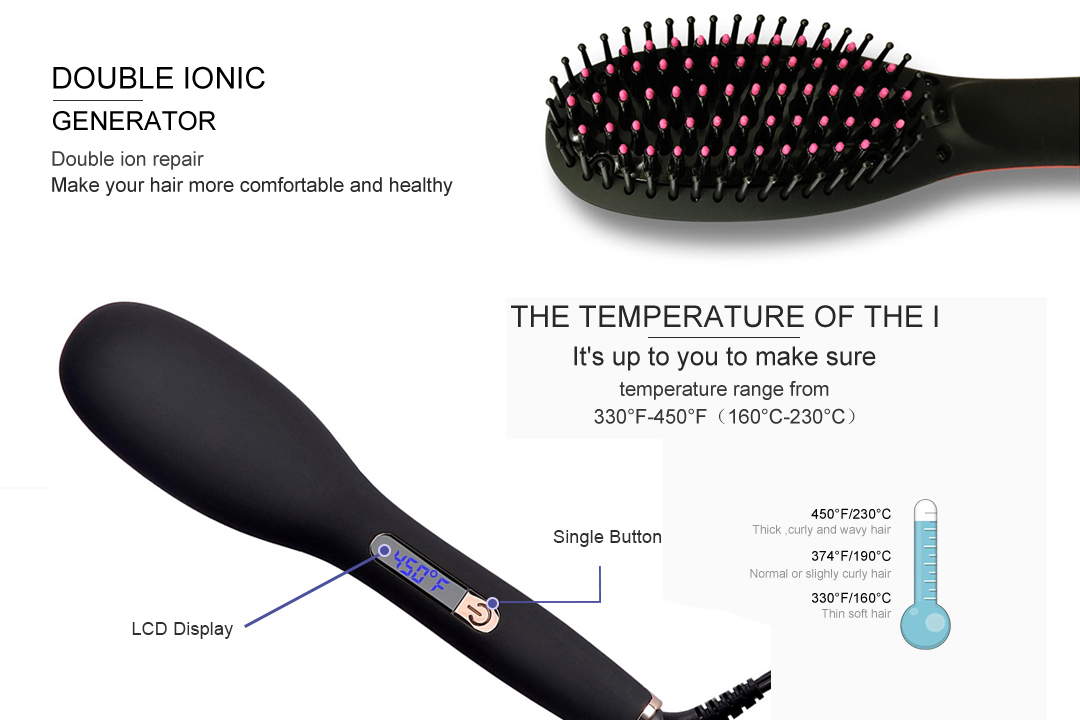 AchiKing straightening best electric hair straightening brush factory price for household-4