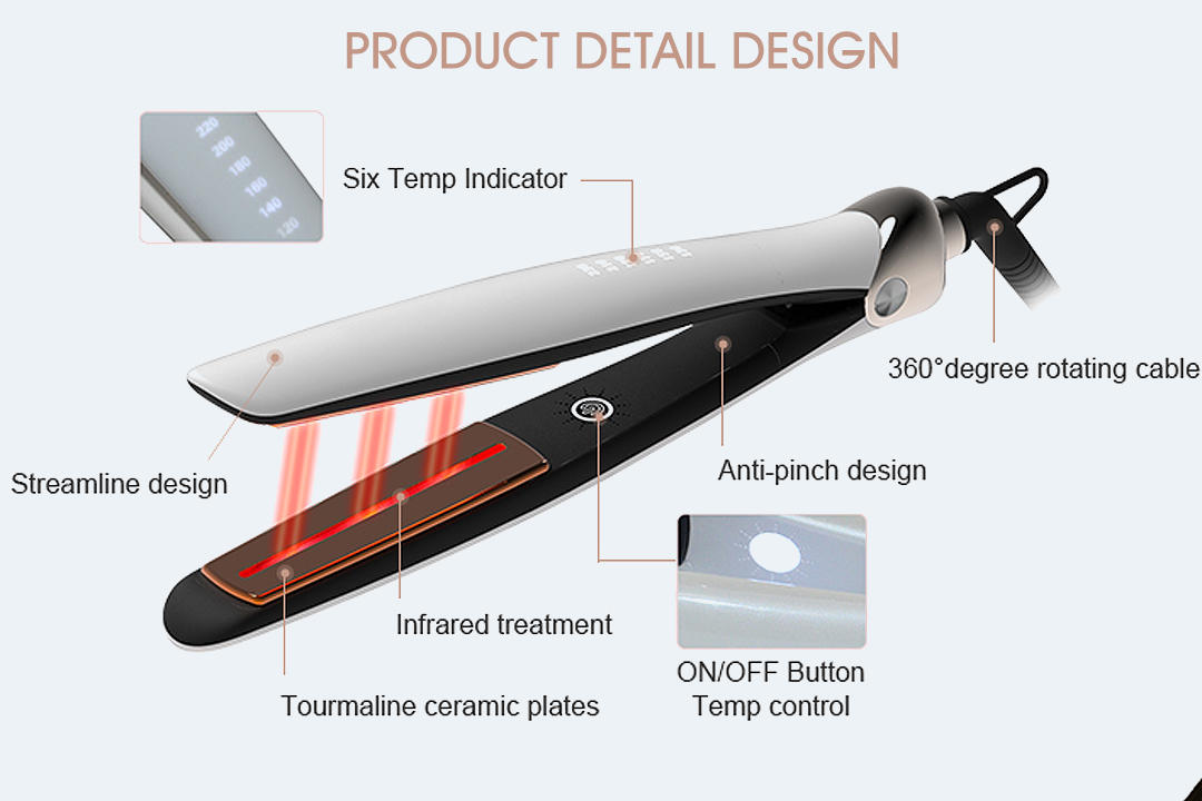 Hair Care Straighteners Ceramic Cold Ultrasonic Infrared Hair Treatment Flat Iron V189