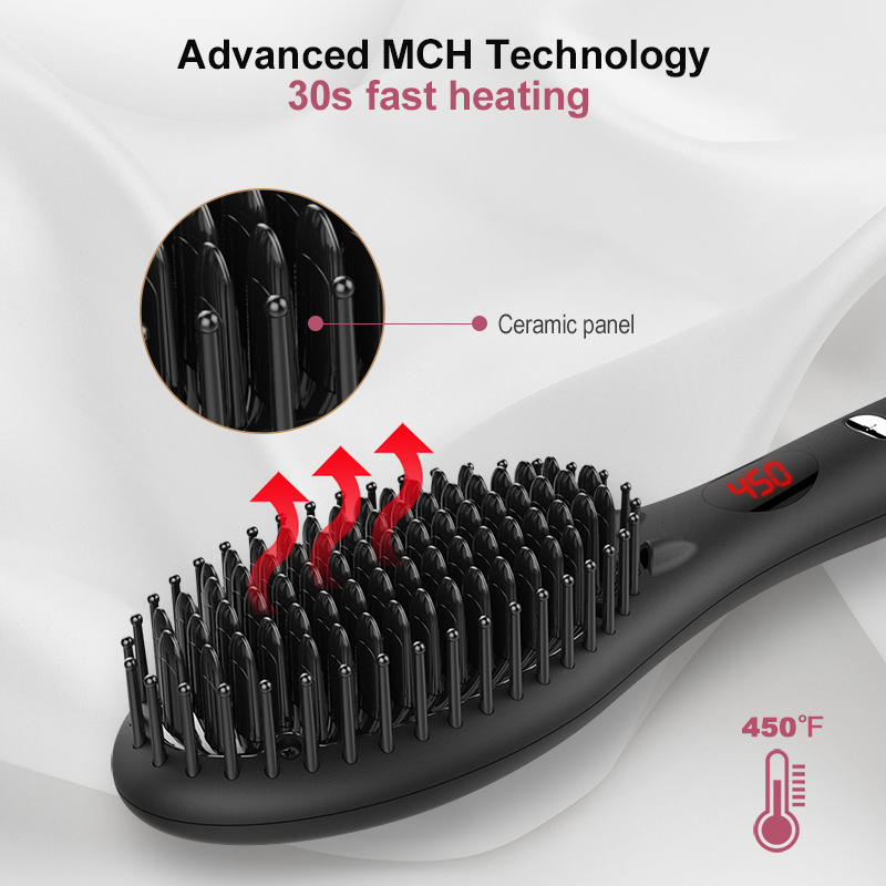 2019 Ceramic Hair Straightening Brush MCH Technology Hair Flat Iron GB-HSB002