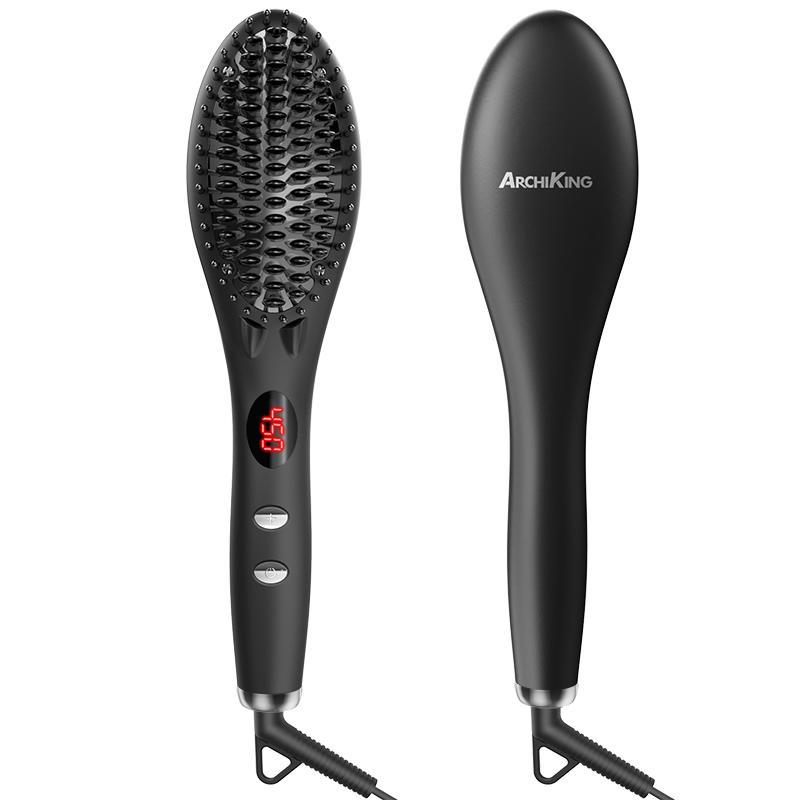 Electric Personalized LED Display Hair Straightening Comb Ionic Massage Hair Straightener Brush Ceramic GF-HSB002