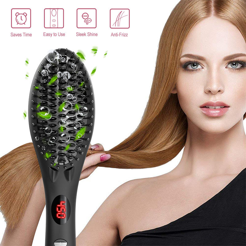 Electric Personalized LED Display Hair Straightening Comb Ionic Massage Hair Straightener Brush Ceramic GF-HSB002