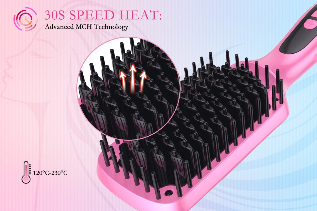 AchiKing flat heated straightening brush supplier for home-4