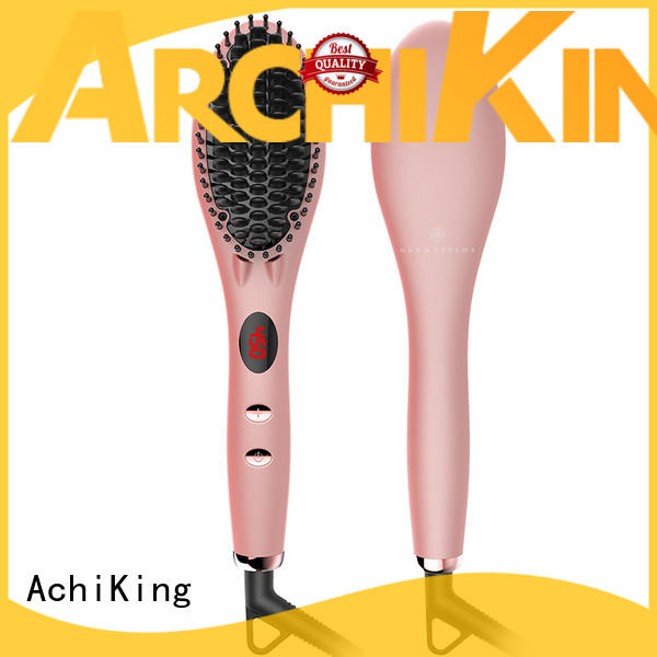 AchiKing patented heated hair straightening brush led for home