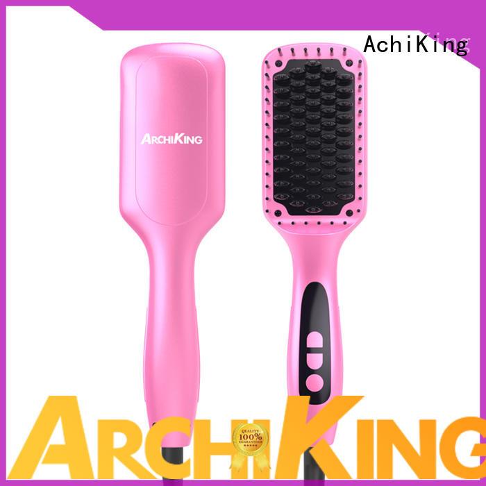 AchiKing Brand digital comb detangling custom ceramic hair straightener brush