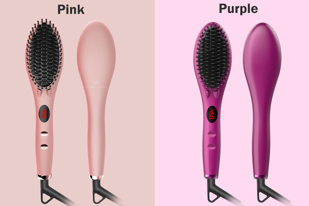 Electric Personalized LED Display Hair Straightening Comb Ionic Massage Hair Straightener Brush Ceramic GF-HSB002-1