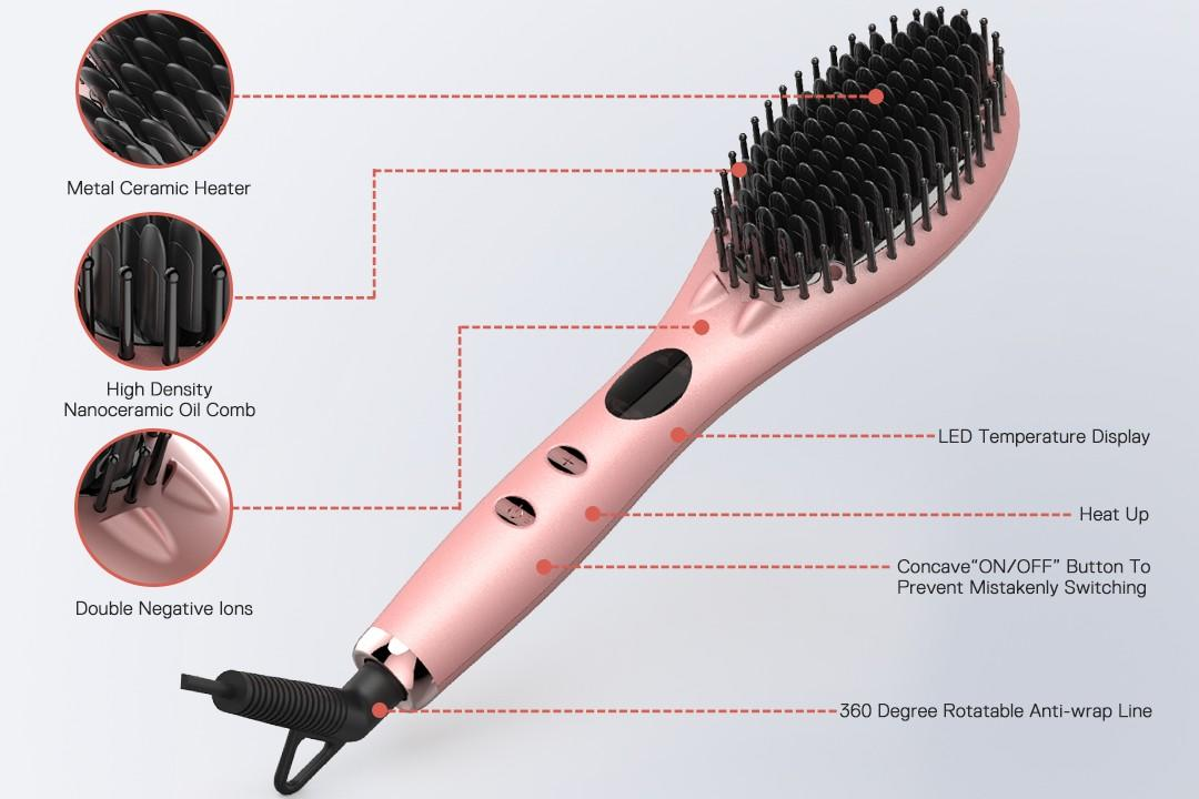 Electric Personalized LED Display Hair Straightening Comb Ionic Massage Hair Straightener Brush Ceramic GF-HSB002-2