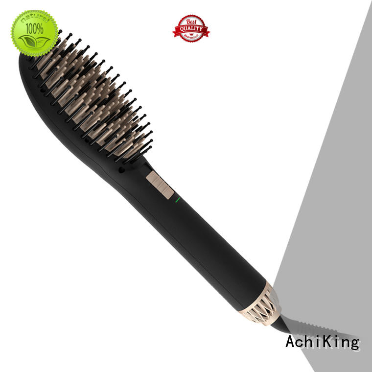 patented heated straightening brush personalized for home